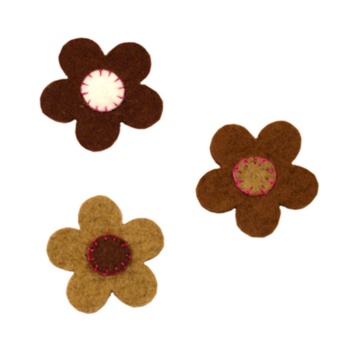 Pack of three stitched flower