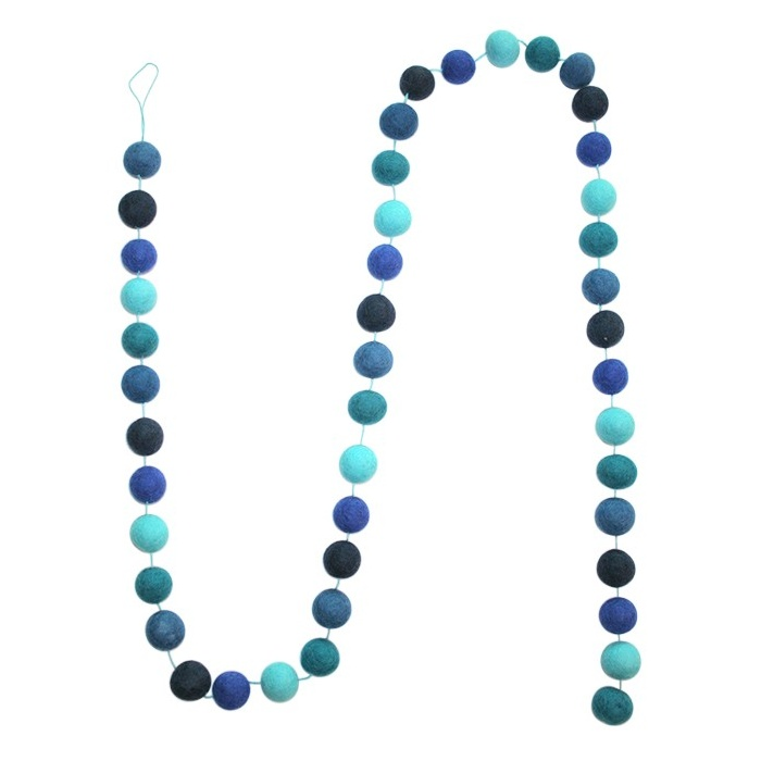 Felt ball garland - Blue