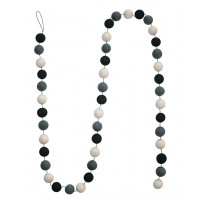 Felt ball garland - Black White